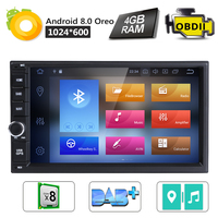 8 OctaCore 4 Гб + 32 7''Android8. 0 Универсальный Автомобильный нет DVD Радио Аудио; стерео; GPS Навигации 2Din клейкие ленты регистраторы головное устройство