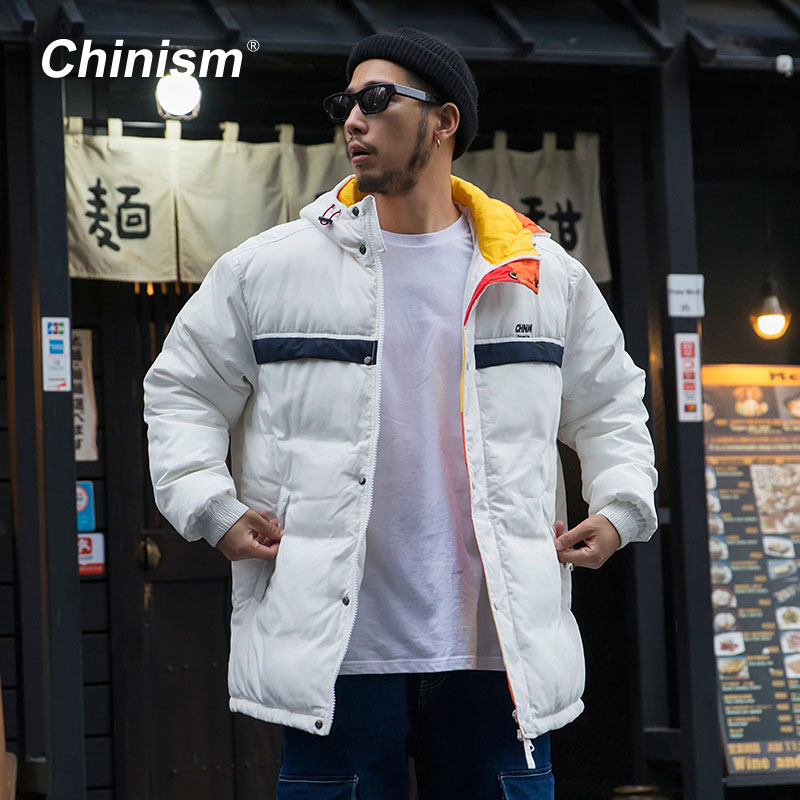 CHINISM Color Block Printed Hoody Parkas Mens Fashion Loose Trendy Padded Jackets 2018 Winter Warm Thicken Outwear Coats