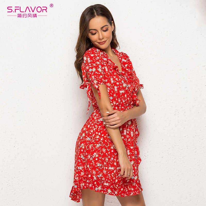 S. FLAVOR гофрированное сексуальное шифоновое мини-платье женское с коротким рукавом с принтом Vestidos винтажное женское 2019 летнее пляжное платье с v-образным вырезом