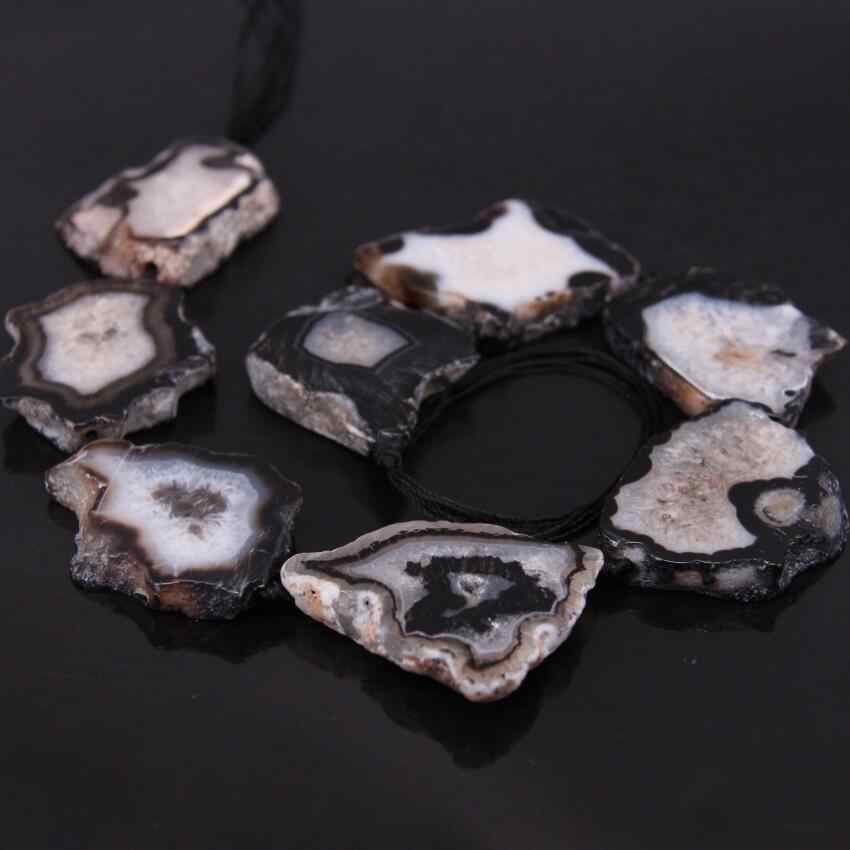 Large Size Natural Geode Agate Cut Nuggets Slab Loose Beads,Raw Drusy Faceted Onxy Druzy Freeform Shaped Slice Jewelry Making,9PcsStrand
