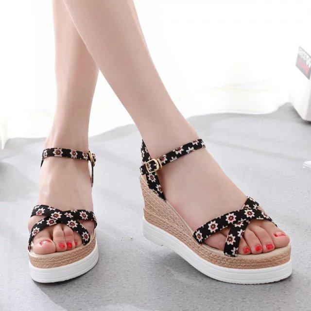 8031f4dbd137 2015 summer female wedges sandals female high-heeled platform shoes fancy  women s platform open toe shoes ethnic trend in black