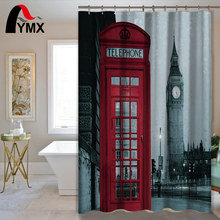 England Style Pattern Polyester Waterproof Shower Curtain Bathroom With 12 Hooks Home Textile Bath Decorative