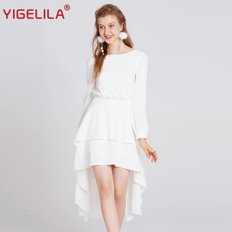 YIGELILA 2019 Latest Women Long Backless Party Dress Fashion Sexy Back Hollow Out Empire Asymmetrical White