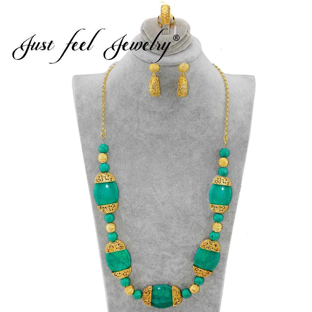 JUST FEEL Gold Color India Style Jewelry Set Round Big Faux Marble Stone Long Necklace Vintage Jewelry(Necklace, Earring,Ring) faux leather rope vintage necklace