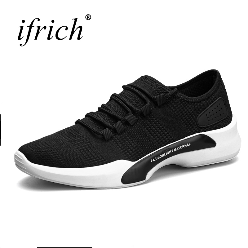 2017 New Sport Shoes Men Lace Up Mens Trainers Brand Black Gray Athletic Sneakers Lightweight Sport Sneakers Cheap Runners