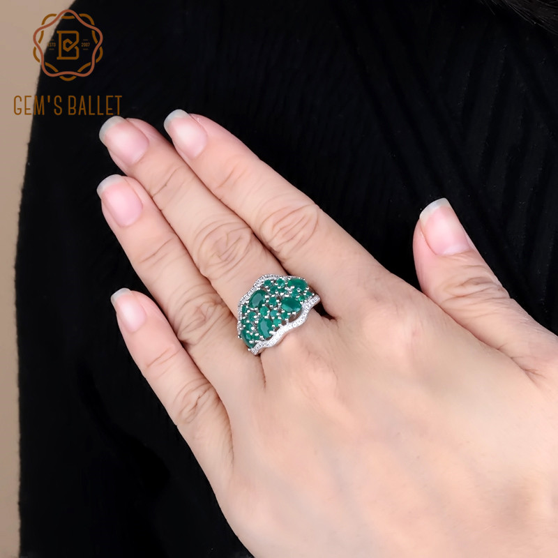 Gem's Ballet 4.77Ct Natural Green Agate Rings 925 Sterling Silver Gemstone Art Deco Vintage Ring For Women Fine Jewelry