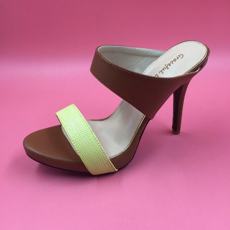 Brown Yellow OL Sandal High Heels Womens Shoes Stilettos Open Toe Sandal Mature Heels Sapatos Femininos Causal Office Sandals