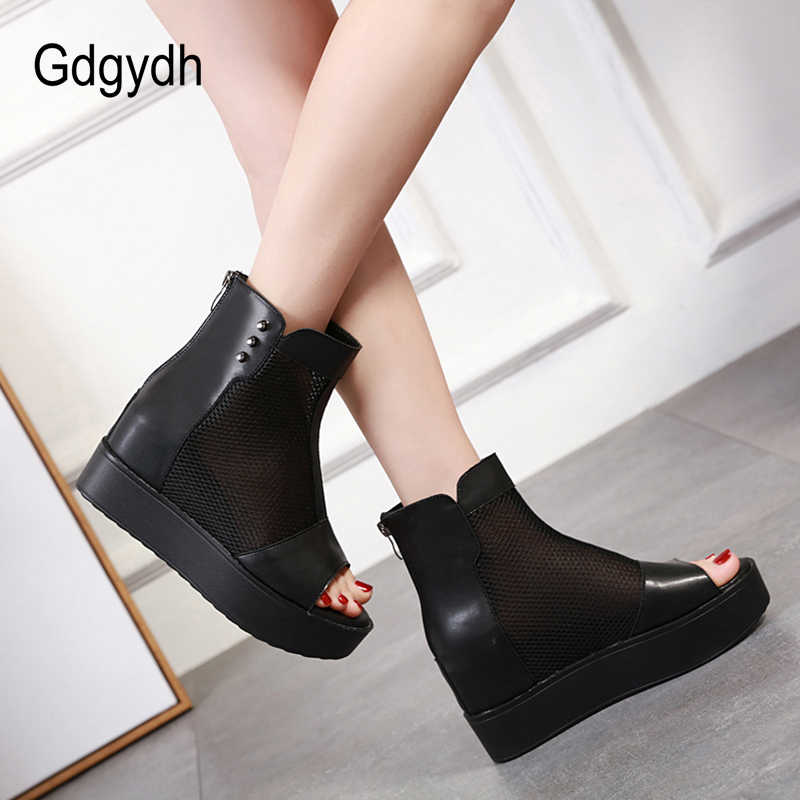 Gdgydh เปิดนิ้วเท้าข้อเท้ารองเท้าส้นสูงแพลตฟอร์มรองเท้าผู้หญิงสีดำหนังสุภาพสตรีรองเท้าฤดูร้อนฤดูใบไม้ร่วง Basic Zipper Wedge สบาย