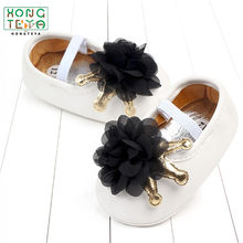 Newborn PU leather large flower crown baby shoes ladies shoes soft bottom anti-slip shoes(China)
