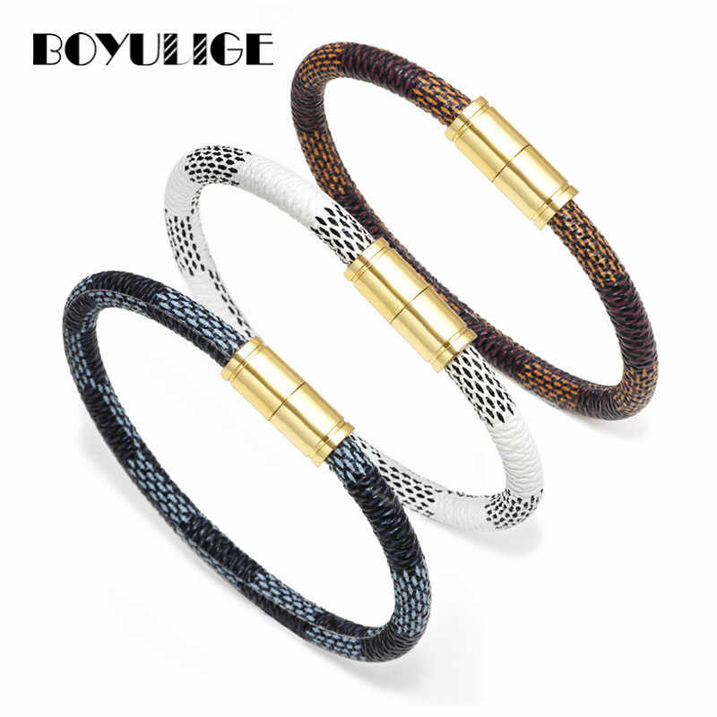 BOYULIGE High Quality Couple Genuine Leather Bracelets Bangles For Women Gold Charm Bracelet Men Hipster Jewelry Magnetic Buckle