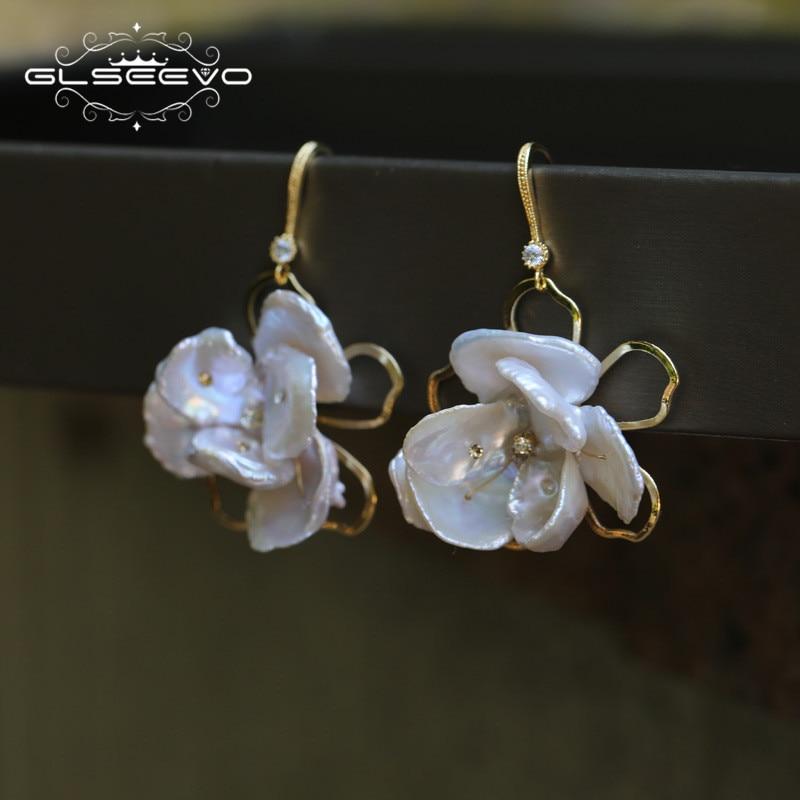 GLSEEVO Natural Fresh Water Baroque White Pearl Flower Earrings For Women 925S Drop Earrings Jewellery Aros Mujer Oreja GE0383