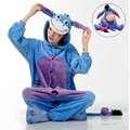 Azul Burro Eeyore Kengurumi Unisex Adulta Onesies Cosplay Animal Pijamas Ropa de Dormir Pijama de Dibujos Animados Para Las Mujeres Hombres Parejas Chicas