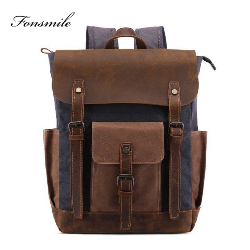 T037 New Oil Wax Canvas Cow Leather Backpacks Unisex Waterproof Rucksacks 14 Laptops Daypacks Large Capacity Vintage MochilasT037 New Oil Wax Canvas Cow Leather Backpacks Unisex Waterproof Rucksacks 14 Laptops Daypacks Large Capacity Vintage Mochilas