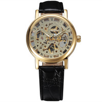 New 2016 Winner Fashion Hollow Skeleton Ultra Thin Business Clock Mechanical Hand Wind Men Male Wrist