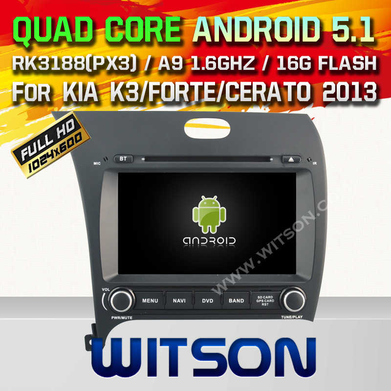WITSON Android 5.1 CAR DVD GPS for KIA K3 2013 Capacitive touch screen Android car dvd Qual-core car audio dvd bluetooth radio