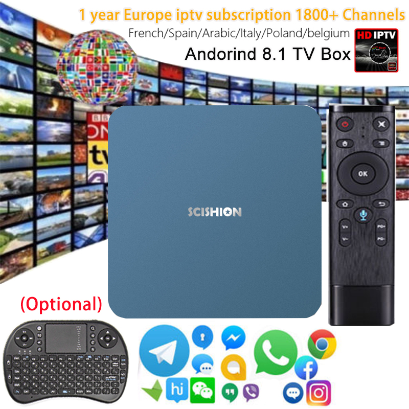 SCISHION AI ONE TV BOX Smart 4K Ultra HD 2G 16G Android 8.1 Movie WIFI Google Bluetooth Rockchip 3328 Media Player Set top Box цена