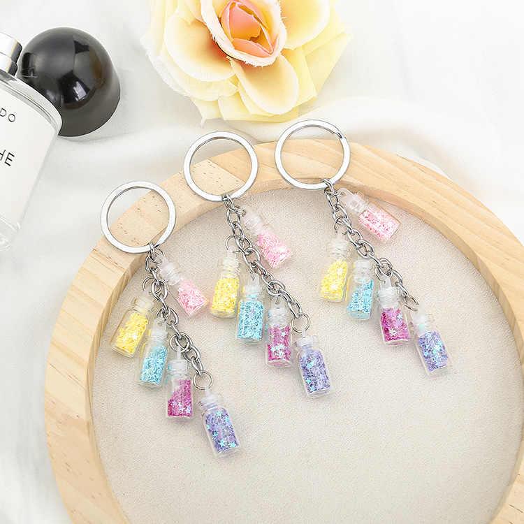 2019 популярный цветной Звездный Дрифт брелок-бутылка 5 стеклянных бутылок Брелоки для влюбленных цепочка для ключей в подарок Автомобильные сумки брелок