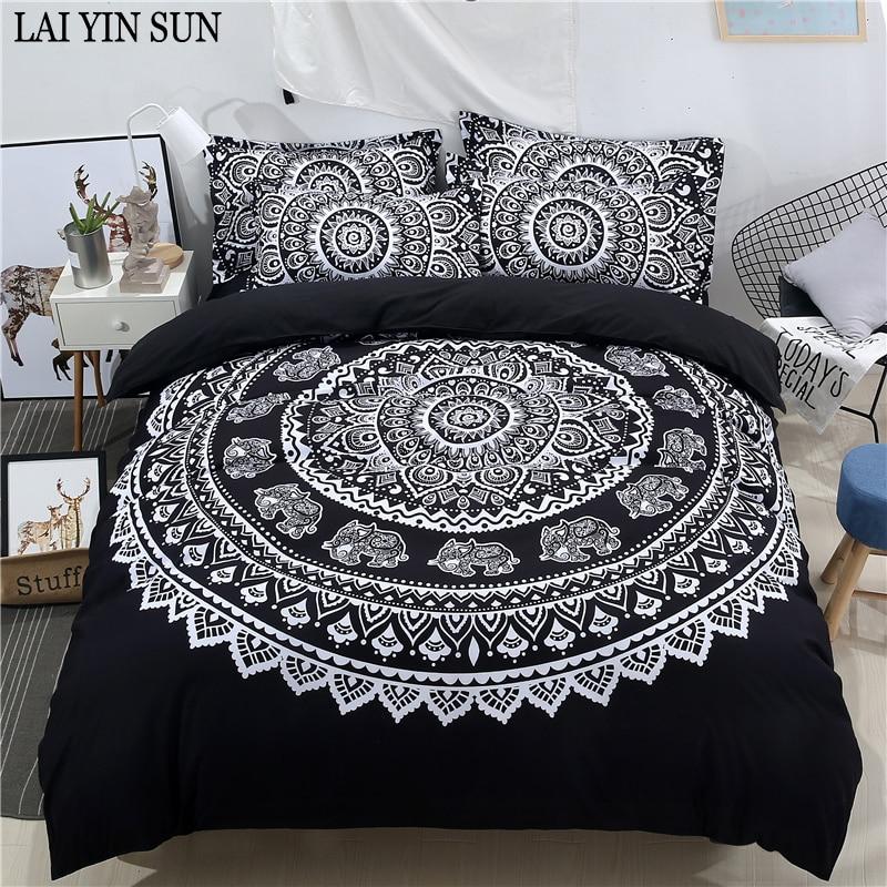 BeddingOutlet Mandala Elephant Duvet Cover With Pillowcase Black ...
