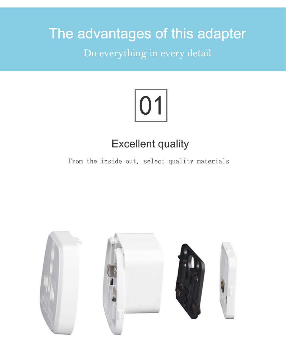 Universal EU US AU to UK AC Power Socket Plug Travel Charger Adapter Converter White ABS Electric Plugs For Mobile Phone Laptop (6)