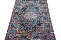 السجاد الفارسي الأوروبي غرفة المعيشة أريكة ، طاولة شاي ، بطانية السرير للأسرة غرفة نوم الأزرق مع زهور حمراء gc157sp01yg2