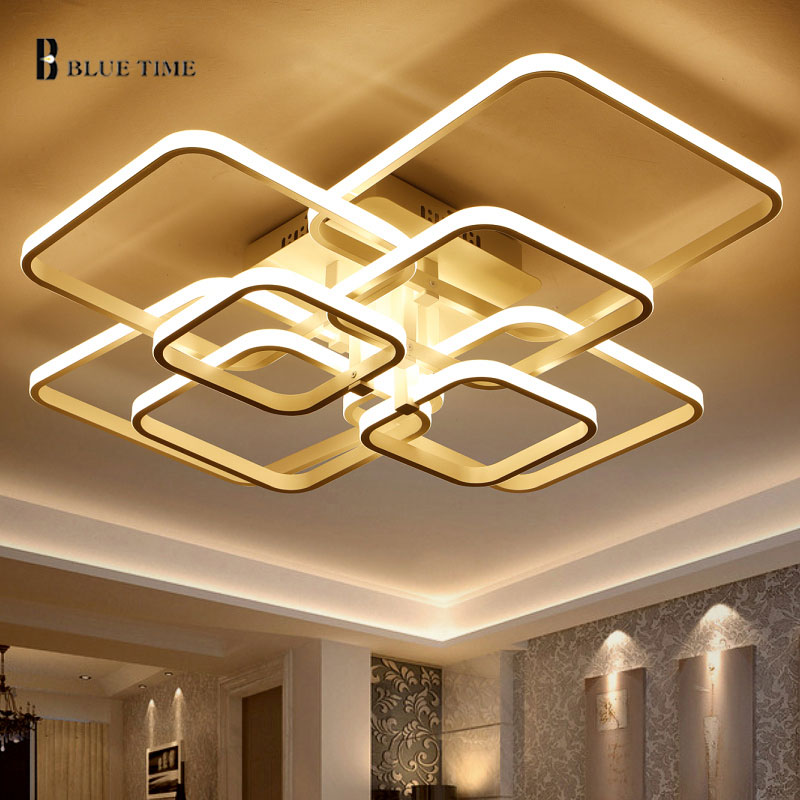 BLUE TIME Large Led <font><b>Chandelier</b></font> Modern For Living Room Bedroom LED Lustre Square Rings Led Ceiling <font><b>Chandelier</b></font> <font><b>Lighting</b></font> Fixtures