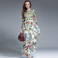 Luxury Dress New Fashion 2016 Autumn Long Sleeve Mash Flowers Embroidery Long Sleeve High Quality Vestido