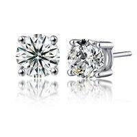 Moissanite Boucles D'oreilles 0.6CTW 4mm Diamant Stud Boucles D'oreilles En Argent Sterling Classique Laboratoire Diamant 4 Prong Boucles D'oreilles pour les Femmes