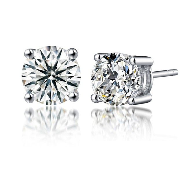 Moissanite Earrings 0 6ctw 4mm Diamond Stud Sterling Silver Clic Lab 4 G