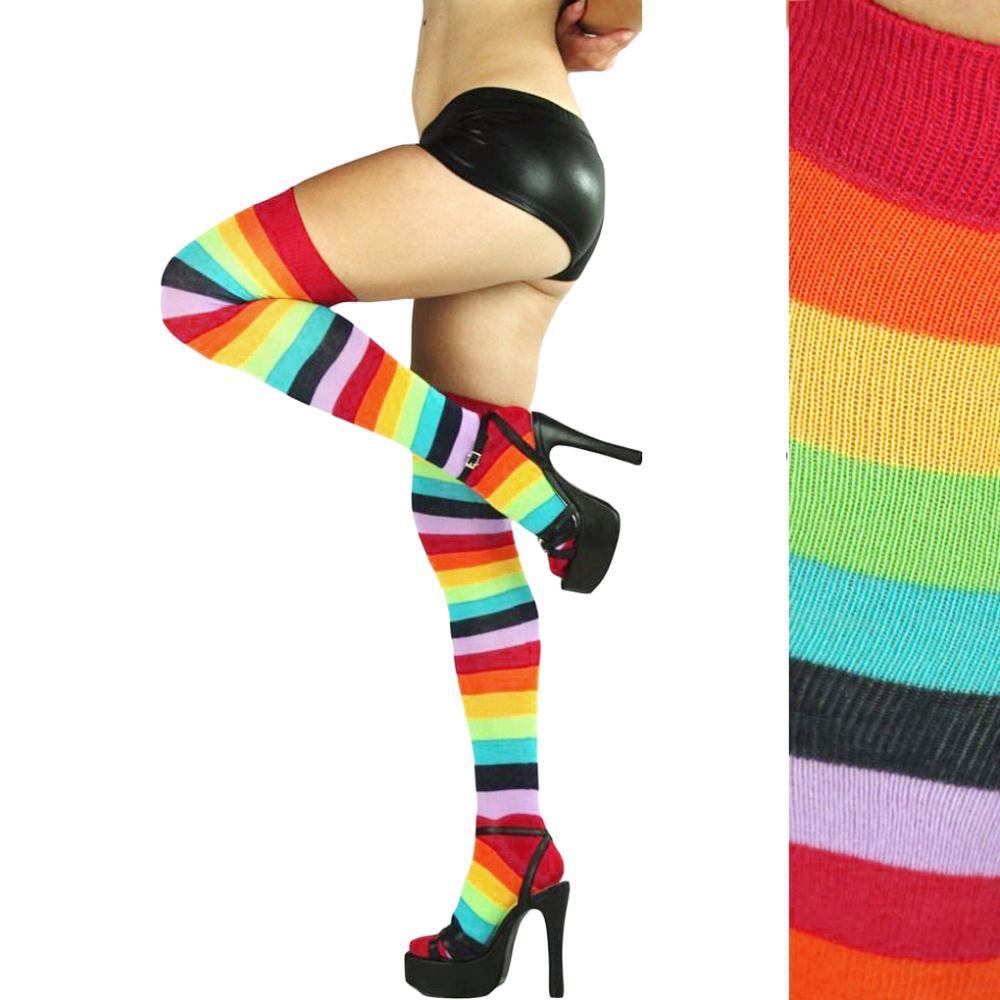 Nueva moda Medias a rayas de color arco iris Mujeres Niñas Muslo Medias altas Nylon Medias largas hasta la rodilla Medias pantimedias