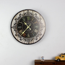 Vintage Wooden Wall Clock Large Shabby Rustic Kitchen Home Antique Retro Style !