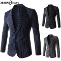 2017 New Arrival Men Blazer Slim fit Casual Buit for men Striped Design Blazer Autumn Wear mens blazer jackets costume homme