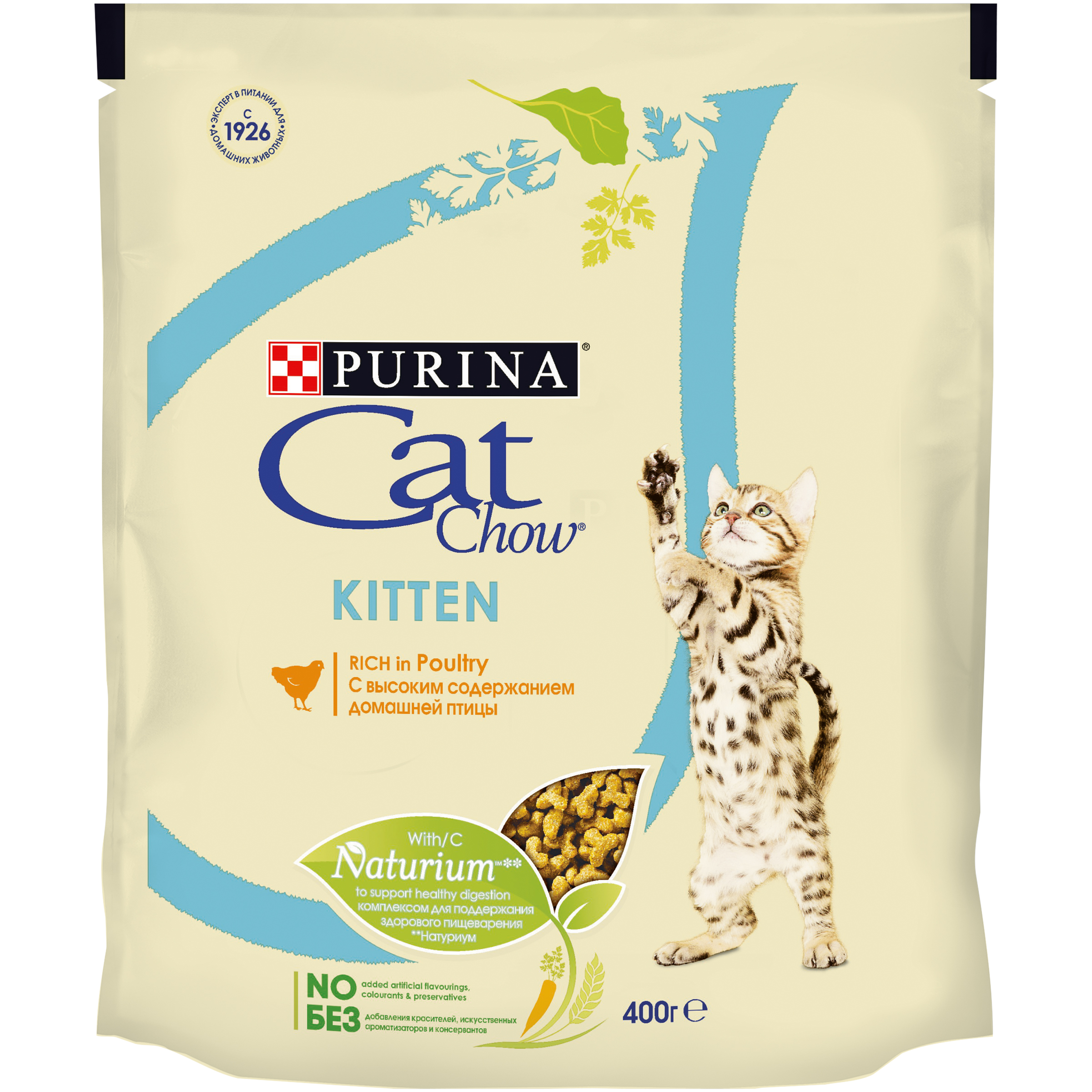 Cat Chow dry food for kittens with poultry, Package, 400 g prevital prevital cat food sterile with poultry