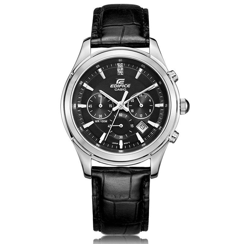 Casio moda simple hombres reloj 50 metros impermeable cuarzo reloj hombre negro Placa de cinturón negro EFR-517L-1A 100% original reloj