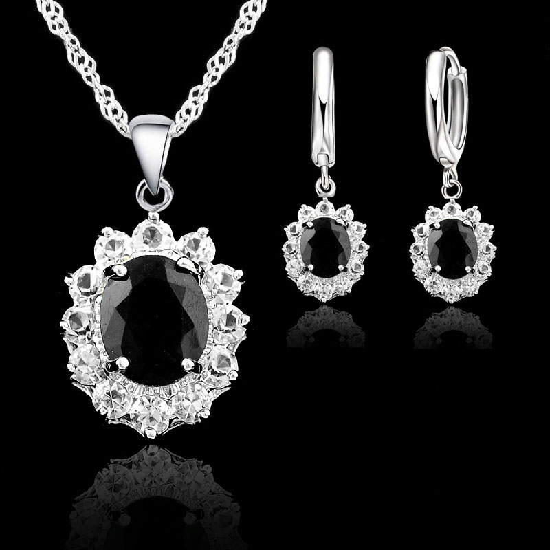 JEXXI 925 Sterling Silver Jewelry Sets For Women Black Oval Cubic Zirconia Stones Princess Kate Bridal Wedding Necklace Earrings