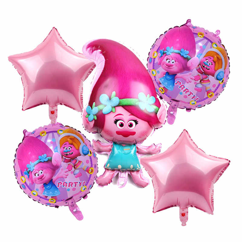 Free Shipping 5pcs/lot Troll foil balloons troll ballon children's toys happy birthday party decorations kids lovely gifts balls