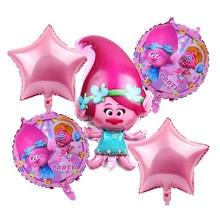O Envio gratuito de 5 pçs/lote Troll troll balões foil ballon brinquedos feliz aniversário decorações do partido crianças presentes encantadores das crianças bolas