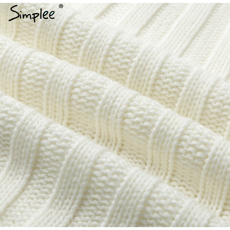 Image 5 - Simplee Elegant knitted dress women Autumn turtle neck female white sweater dress Sexy holiday solid ladies winter teal vestidos-in Dresses from Women's Clothing