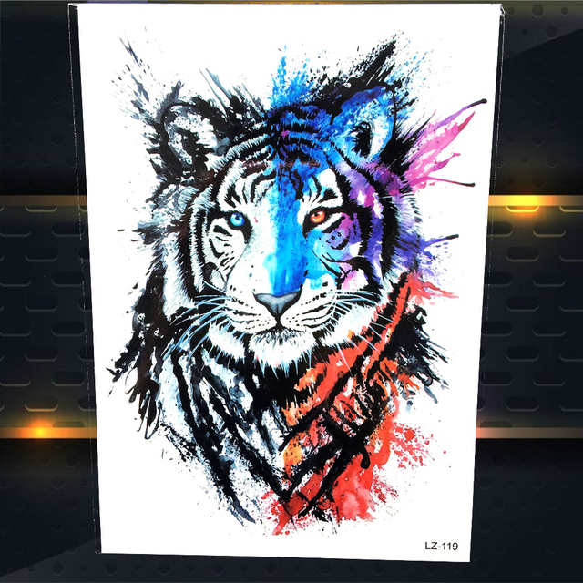 25 Style Cool Women Body Art Blue Red Black Tiger Waterproof Temporary Tattoo Stickers 21x15CM Watercolour