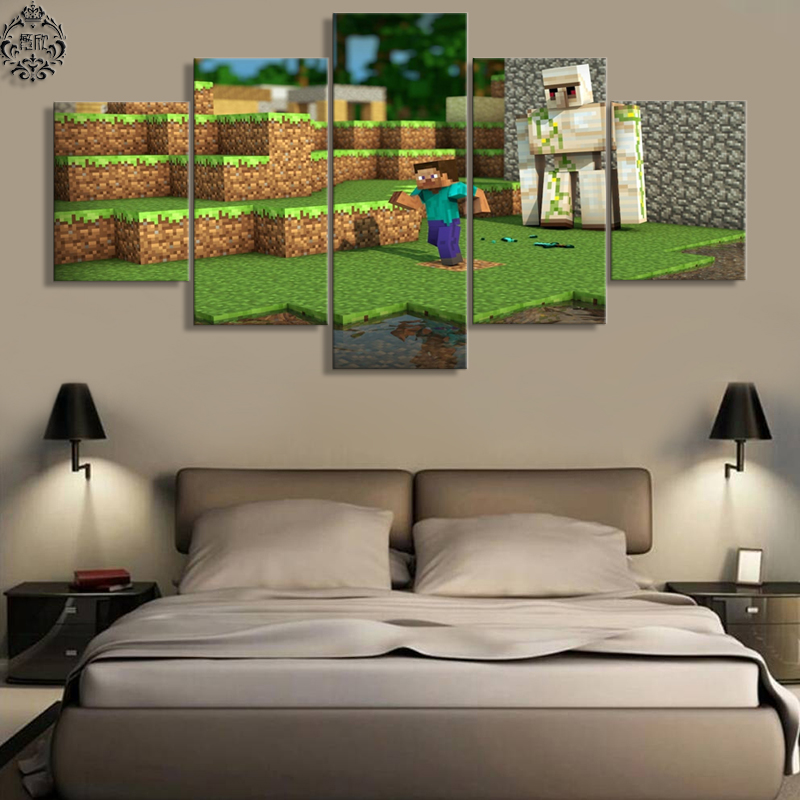 5 Pieces Canvas Painting Minecraft Wall Decor Pictures