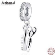 Qualidade superior popular 925 de prata sólida scissor e pente pendurado charme apto pulseira jóias para mulheres colar pingente crafting