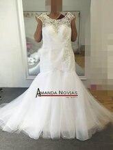 Cap Sleeves 2017 Plus Sizes Mermaid Wedding Dress With Beading Lace