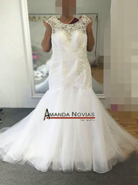 Mangas de boné 2017, tamanhos grandes vestido de casamento de sereia com renda