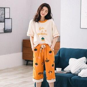 Image 3 - New Arrival Summer 100%Cotton Women Pajamas Set Cartoon Thin Print Pyjamas Women Short Sleeve Round Neck Big Size Pijama Mujer