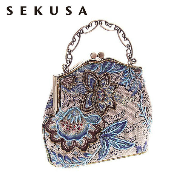 ebae69b46056 SEKUSA Vintage Printed Floral Evening Bag Embroidery Beading Diamonds Evening  Bag Small Party Wedding Chain Shoulder