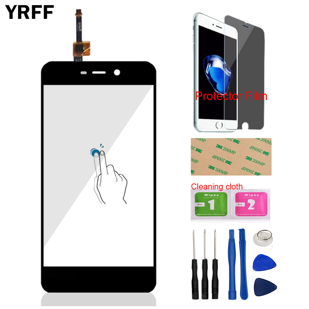 YRFF 5.0'' Mobile Phone Front Glass For Xiaomi Redmi 4A Touch Screen Digitizer Panel Glass Sensor Tools Protector Film Adhesive