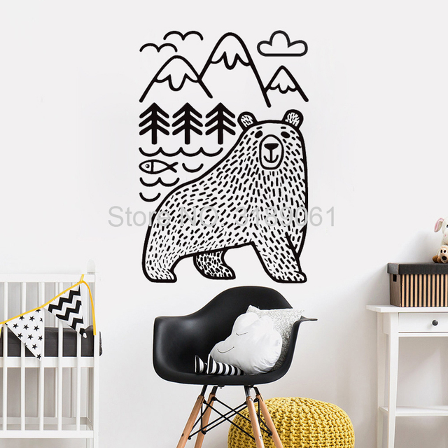 Wild Animals Mountains Wall Decor Stickers Woodland Bear Decals Kids Bedroom Nursery Tattoo