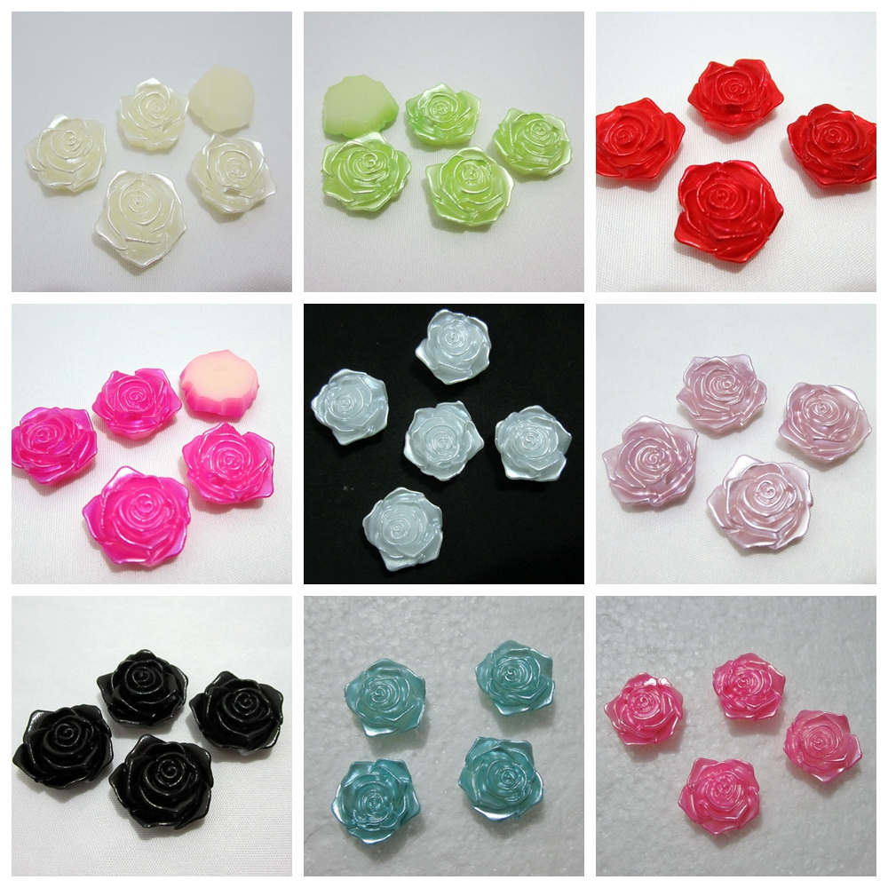 110pcs 18mm Half plastic Pearl Bead flower rose Scrapbook Craft Flatback wedding decoration B00*11