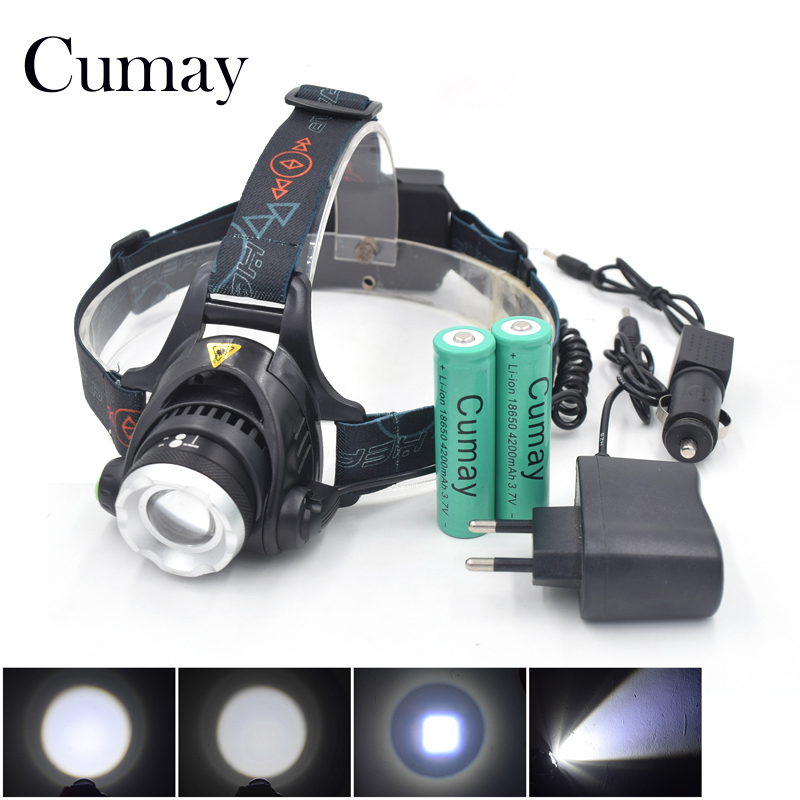 3800Lumen XML T6 LED Zoom Headlamp Headlight Head light lamp Zoomable Torch Flashlight 18650 or AA Bike Cycling Bicycle Lighting