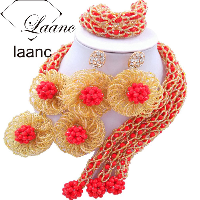 Laanc Red Gold Wedding Bridal Jewelry Set for Women Nigerian Beads Flower Necklace and Earrings FBFE003 a suit of vintage flower leaf necklace and earrings for women