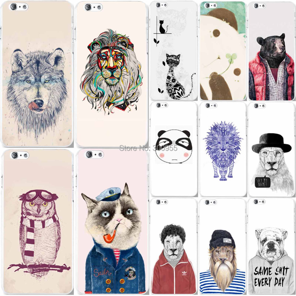Phone cases iPhone 6 Plus 6s plus New Fashion Cute Cat Tiger Dogs Animals Patterns Hard Plastic Back cover Skin Protector - poplar1115 store